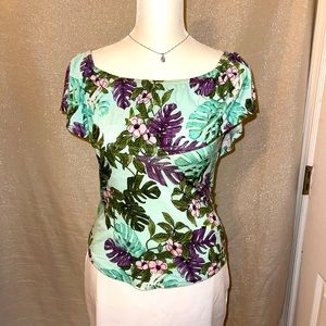GREEN AND PURPLE FLORAL OFF SHOULDER TOP